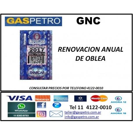Renovación de oblea GNC CONSULTAR PRECIO